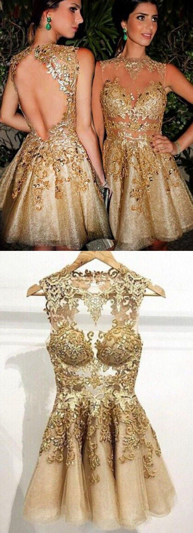 party dresses, gold party dresses, short mini homecoming dresses with appliques, cheap gold evening gowns with beading
