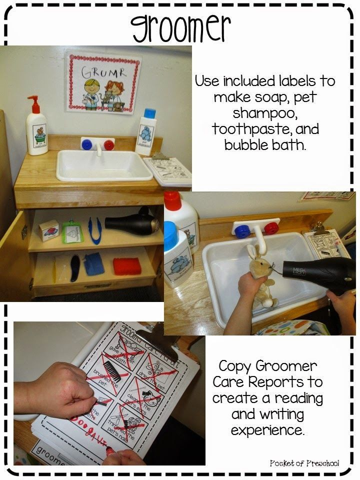 Pet Store: Groomer station at the Pet Store in the dramatic play center in a preschool classroom. Easy to make props and a writing experience too! Pocket of Preschool