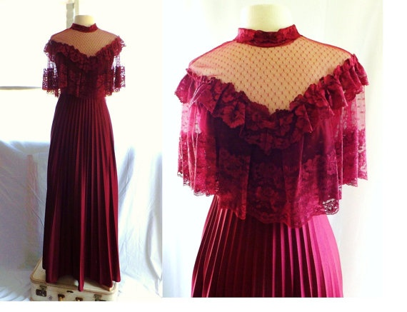 Vintage 70s LACE Red Wine Goddess Cape Top Victorian MAXI
