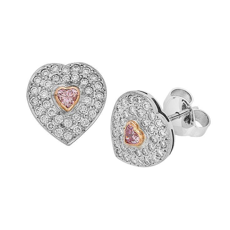 Argyle pink diamond and white diamond earrings. Handmade by Imp Jewellery.