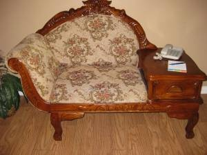 Victorian Gossip Bench Telephone Sofa Settee Seat Chair