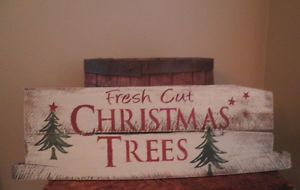 "fresh cut christmas tree signs wood | ... ""Fresh Cut Christmas Trees"" Sign Made from Reclaimed Wood 