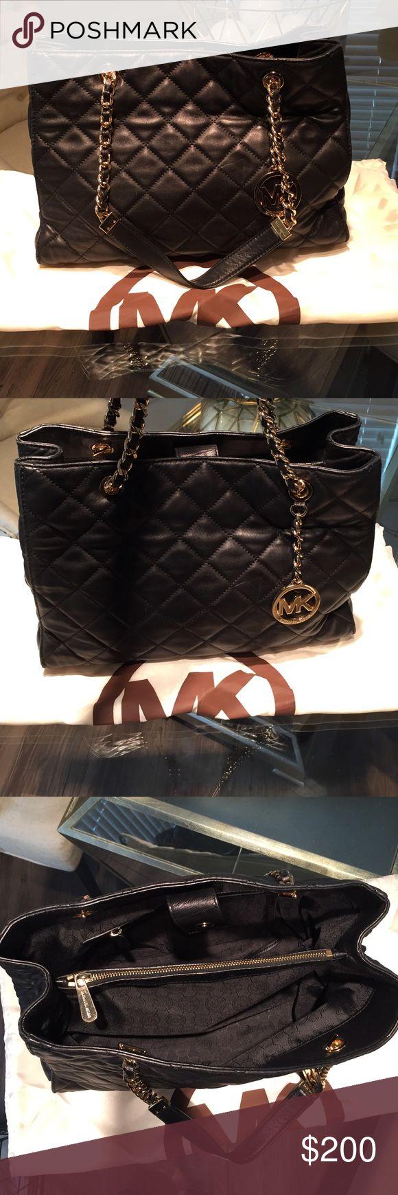 Michael Kors Susannah Black quilted shoulder bag. Lamb skin leather. Great condition MICHAEL Michael Kors Bags Shoulder Bags