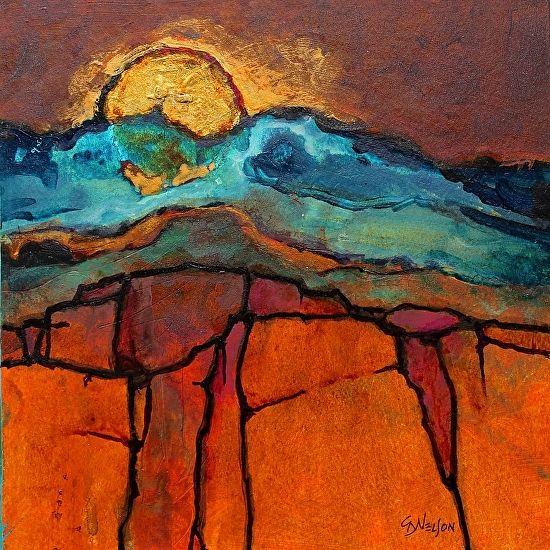 """Mixed Media Abstract Painting, """"EDGE OF SEDONA"""" by Colorado Mixed Media Artist Carol Nelson"""