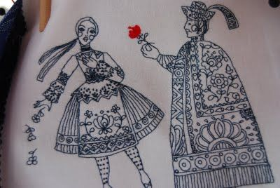 Hungarian embroidery by Piroska Wolf, based on her drawing