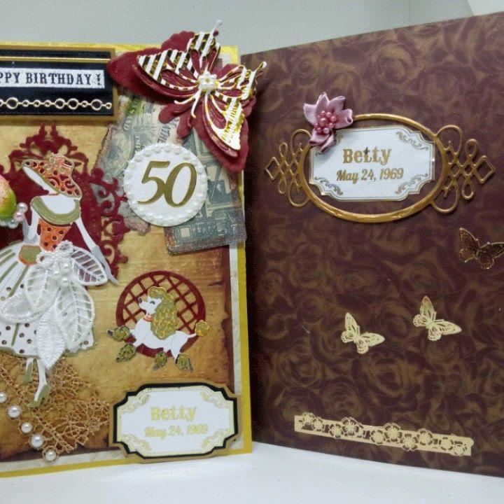"""Elegante Retro-Karte für ihren besonderen Tag-Geburtstag, Muttertag, Engagement, Jubiläum. Sonderkarte mit Goldfolie-Schriftzug – Family Studio """"BODOArt"""", Germany"""