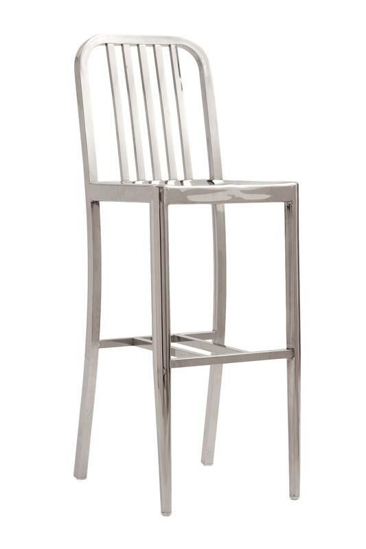 the salinas bar stool is made of a polished stainless steel frame and comes fully assembled