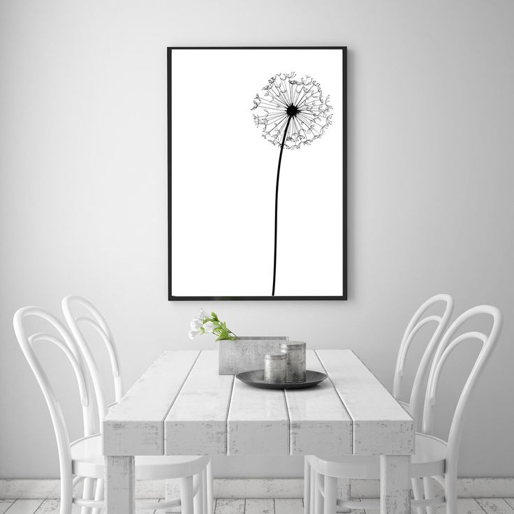 "Dandelion Modern Abstract Wall Art Printable - 24 x 36"" Poster - Black & White Nordic / Scandinavian Minimalist Decor - INSTANT DOWNLOAD by NordicPrintStudio on Etsy https://www.etsy.com/listing/235539844/dandelion-modern-abstract-wall-art"