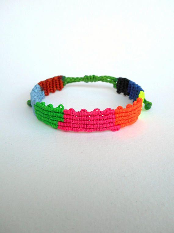 Color block bracelet Woven band bracelet Colorful bracelet