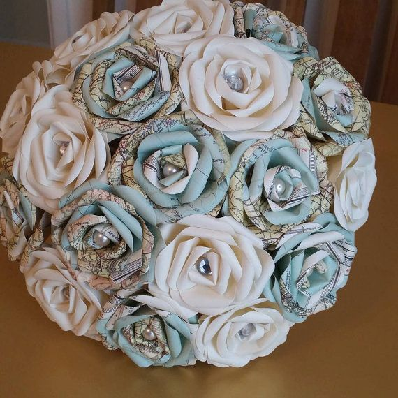 Vintage Map Travel Theme wedding Paper Origami Flower Bouquet jute hessian stationary world UK pearl alternative to silk foam button ribbon