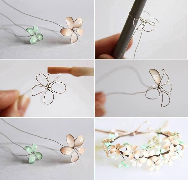 Corona de flores con alambre y esmalte de uñas.