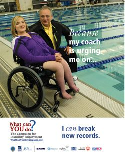 Because my coach is urging me on, I can break new records. (Campaign for Disability Employment)