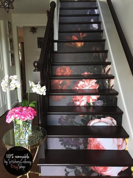 Decalque da escada de 10 degraus, decalque de escada floral pintado vintage, listras de decoração de escadaria floral, escadas de peel e stick # 13R   – haus