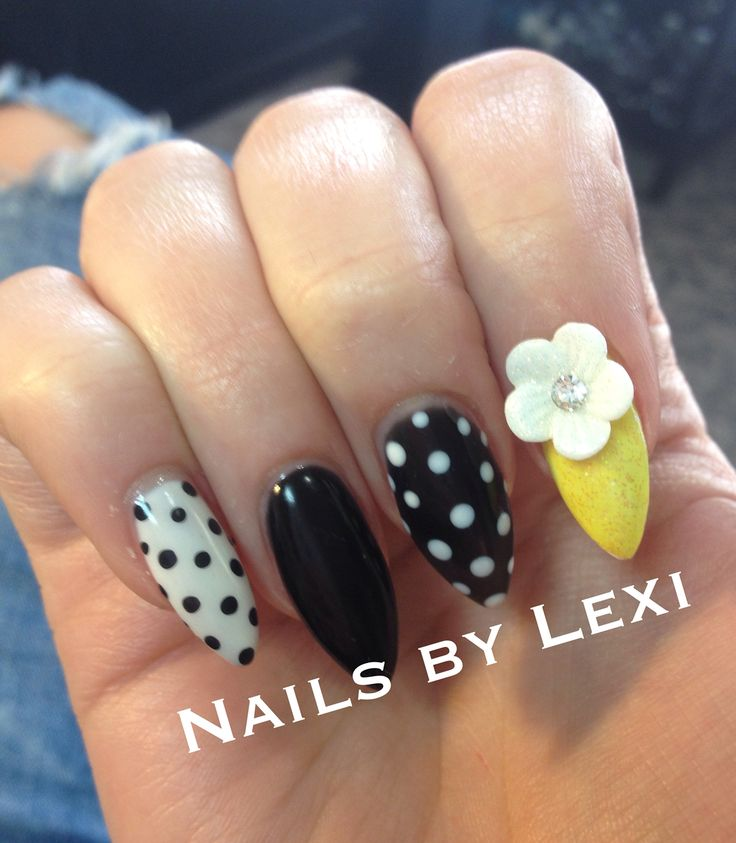 Flower and polka dot nail art