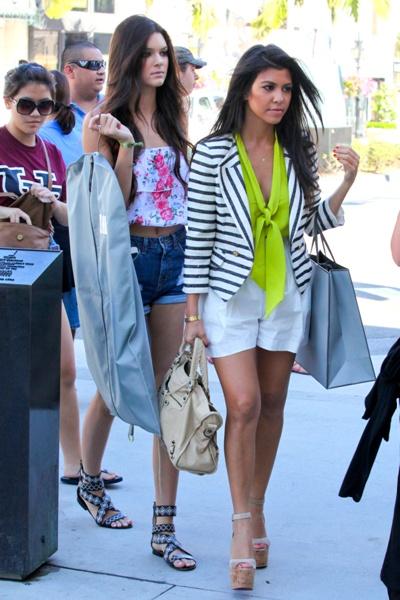 Kourtney Kardashian - McGinn Nautical Striped Blazer, neon green mason necktie blouse, rachel roy high waisted white shorts, Christian Louboutin Super Dombasle Cork Platform in Nude, balenciaga handbag