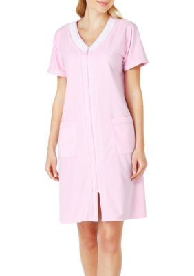 Aria Women's Short Sleeve Vintage Terry Zip Short Robe -  - No Size