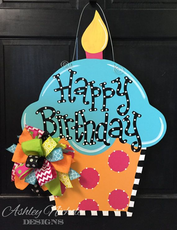 Birthday Cupcake Door Hanger Party Decor by DesignsAshleyNichole