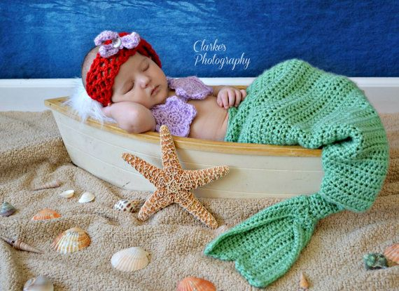 Crochet Ariel, The Little Mermaid, photo prop 3 piece set size 0 to 6 mos - an adorable baby shower gift, available now on Etsy, $40.00