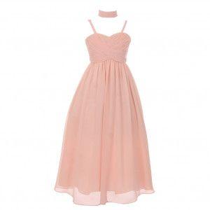 27bc6ecfd Big Girls Blush Pleated Top Shawl Elegant Chiffon Junior Bridesmaid Dress 8-16  | Junior Bridesmaid dress | Pinterest | Flower girl dresses and Girls  dresses