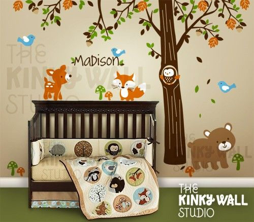 Children Wall Decal Wall Sticker tree decal - Forest Friends with custom name nursery decal - KK116. $145.00, via Etsy.