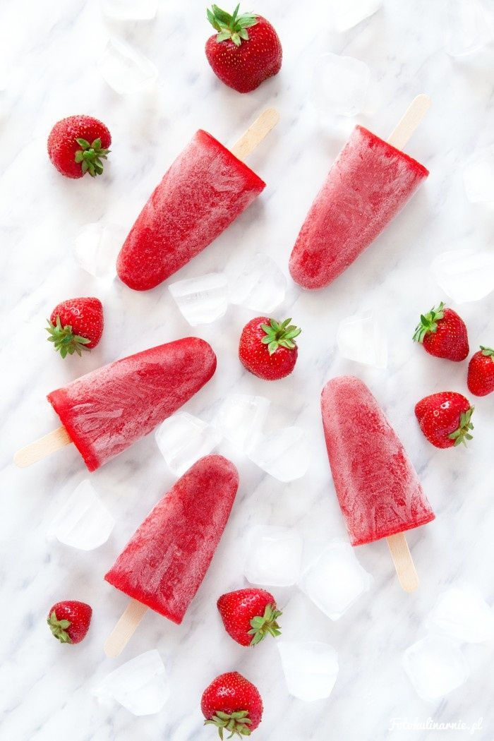 Strawberry Sorbet Popsicles.
