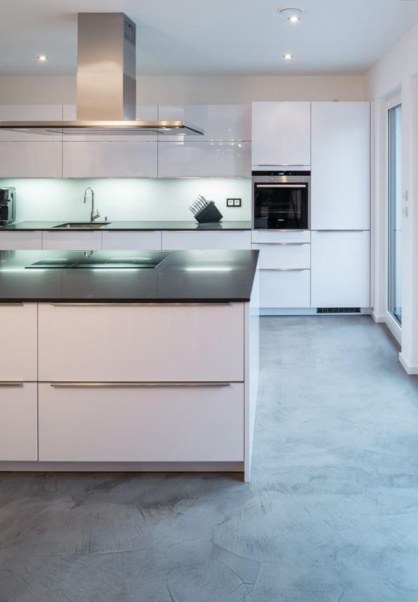 Designer Fussboden Beton Optik Concrete Floor Betonboden Kuche Moderne Graue Kuche Betonfussboden