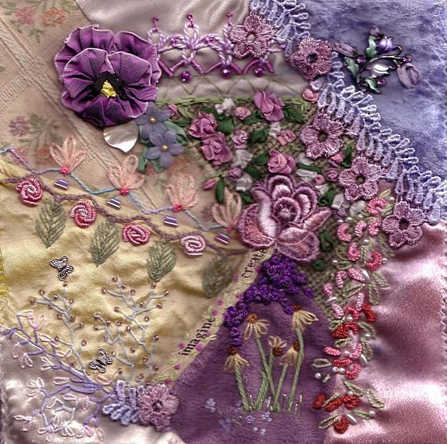 I ❤ crazy quilting  ribbon embroidery . .