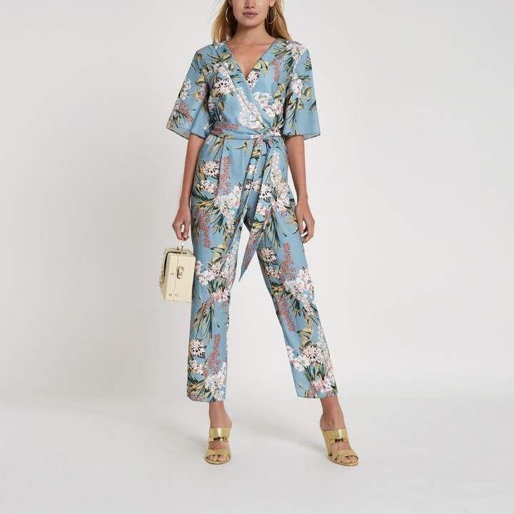 dcb343cd4e River Island Womens Light Blue floral wrap tie waist jumpsuit