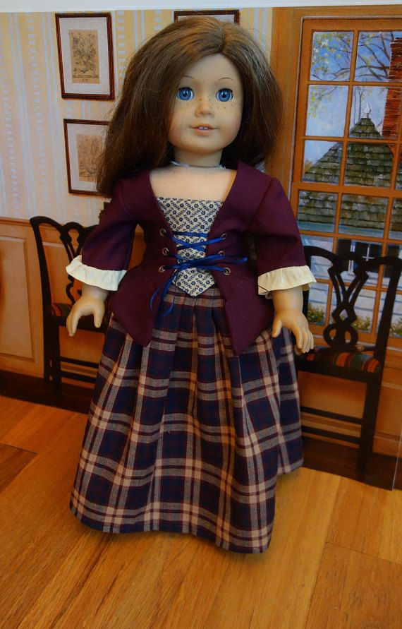 """Homemade 18"""" American Girl doll clothes - HIstorical Colonial Dress for American Girl Felicity - Outlander Costume in tartan plaid."""