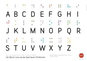 ABC-Plakat für die erste Klasse Grundschule, inkl. Braille, Blindenschrift, Punktschrift