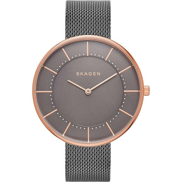 Skagen SKW2584 Gitte rose gold-plated stainless steel watch ($170) ❤ liked on Polyvore featuring jewelry, watches, skagen wrist watch, skagen, skagen jewelry, skagen watches and quartz movement watches