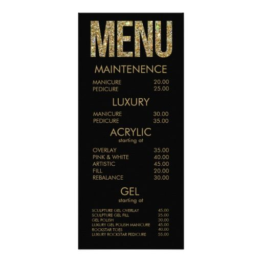 Black & Gold Glitter Typography Salon Menu Cards