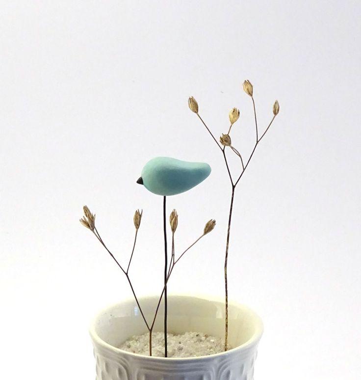 1 Pic oiseau bleu pastel - mat