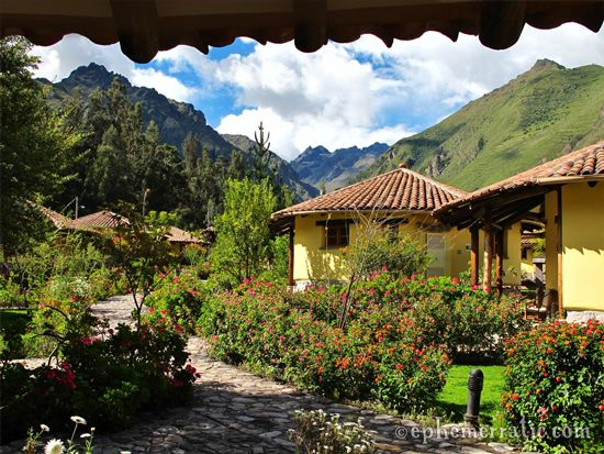 Mountains and lush grounds at Hotel Sol y Luna in Peru's Sacred Valley. More lovely pics of the hotel: http://ephemerratic.com/bono-hotel-sol-y-luna-urubamba-peru