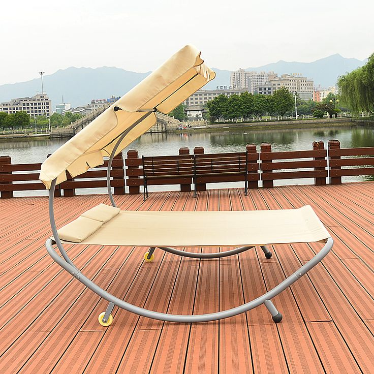 Modern Sun Loungers Patio Outdoor Furniture Double Hammock Daybed Beach Swimming Pool Chaise Lounger with Sun Shade, Wheels
