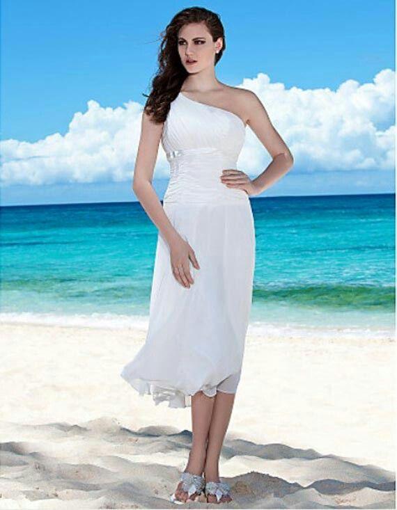 Specials Sheath Column One Shoulder Tea Length Chiffon Wedding Dress Free Measurement