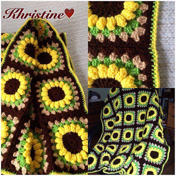 Sunflower Crochet Blanket Free Pattern Sunflowers