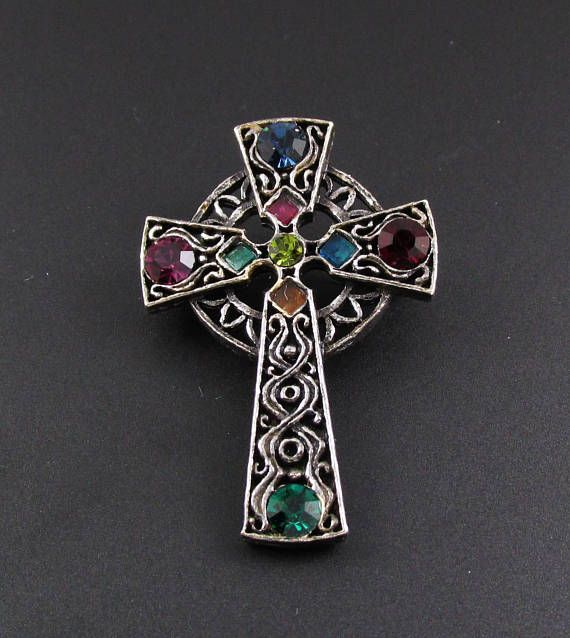 Celtic Cross Brooch Antique Silver Irish Handmade Jewelry