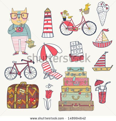 Travel concept set in vector. Cartoon hipster cat with bicycle, dog, ice-cream, sail boat, cases, chocolate, tulip and cocktails. Cartoon fu...