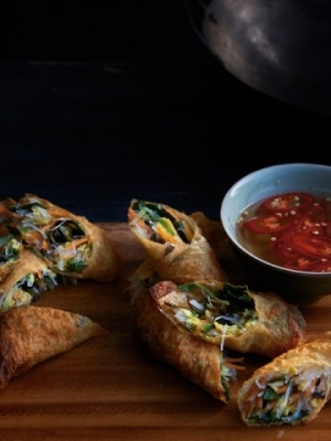 Kylie Kwong's easy spring rolls (with bean curd skins, could be gluten-free)