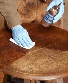How to refinish furniture without stripping, also tips for fixing missing bits of veneer, white rings, dents, and paint splatters