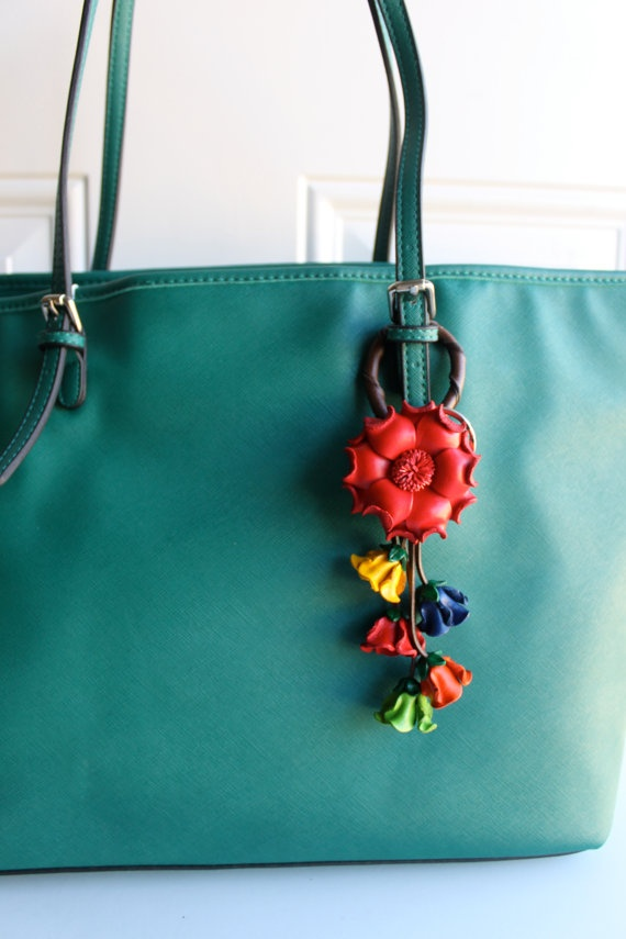 red flower leather keychain and purse charm by LeatherE on Etsy, $16.00