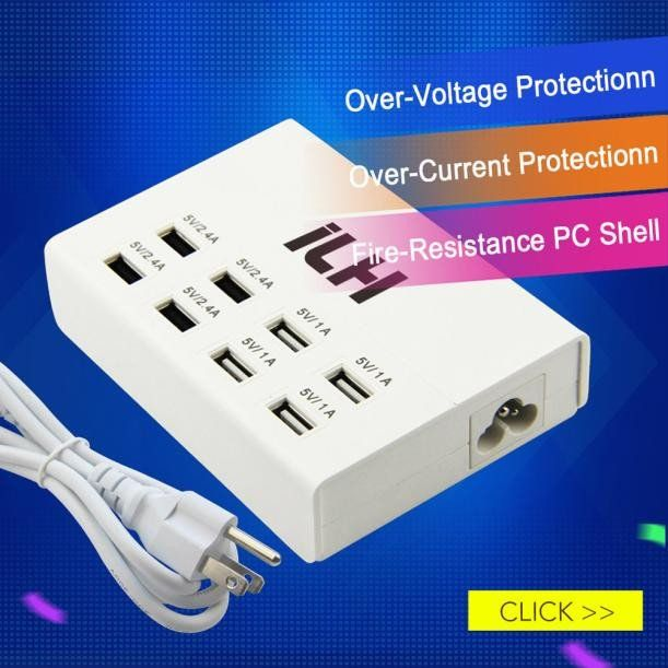 Visiocology : US Standard 8-Port USB Charger USB Charging Station Multi-Port USB Charger Desktop Hub for iPhone, iPad, Samsung Galaxy and More (White)
