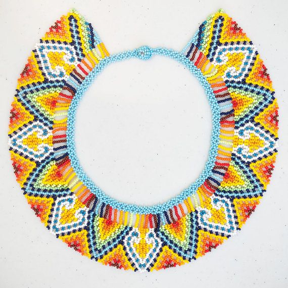 This unique necklace was handmade by the Embera indians living on the Pacific coast of Colombia.