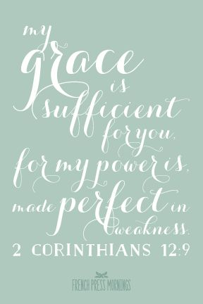 French Press Mornings Print - 2 Corinthians 12:9 #encouragingwednesdays #fcwednesdaywisdom #quotes