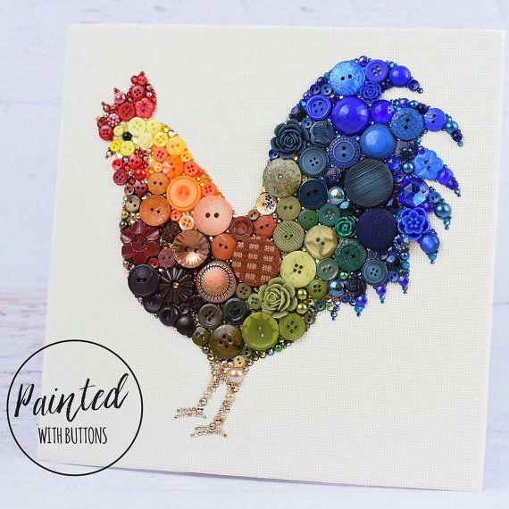 CUSTOM MADE COQ BOUTON ART Ajouter un éclat de couleur à nimporte quelle pièce avec ce bouton magnifique coq tenture ! Votre art fait sur