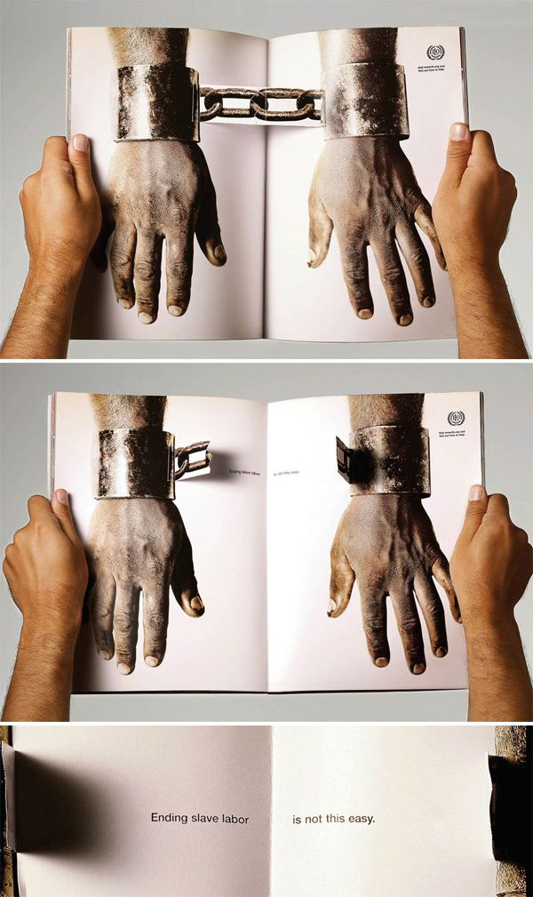 Pop-up breaking chains - Anti-slavery advertisement (Alexandru, found 2015)