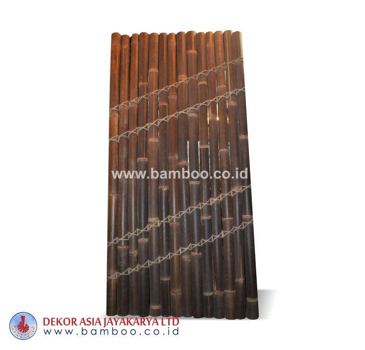 Half cut bamboo fence 4 back slats black coco rope