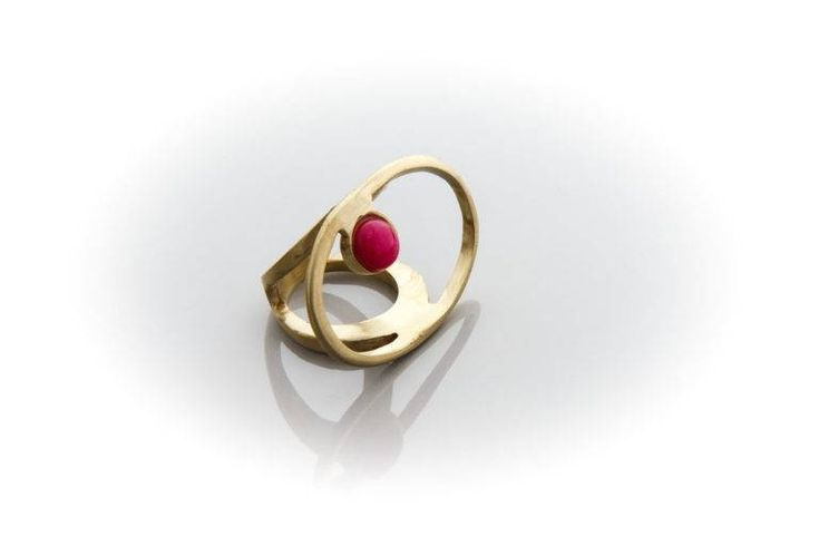 brass ring with fysical stone by AtelierMarias on Etsy