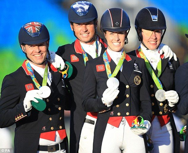 Dujardin (second from right), who won team and individual gold at London 2012, and her team mates Spencer Wilton, Carl Hester, Fiona Bigwood (left to right) were beaten by the Germans